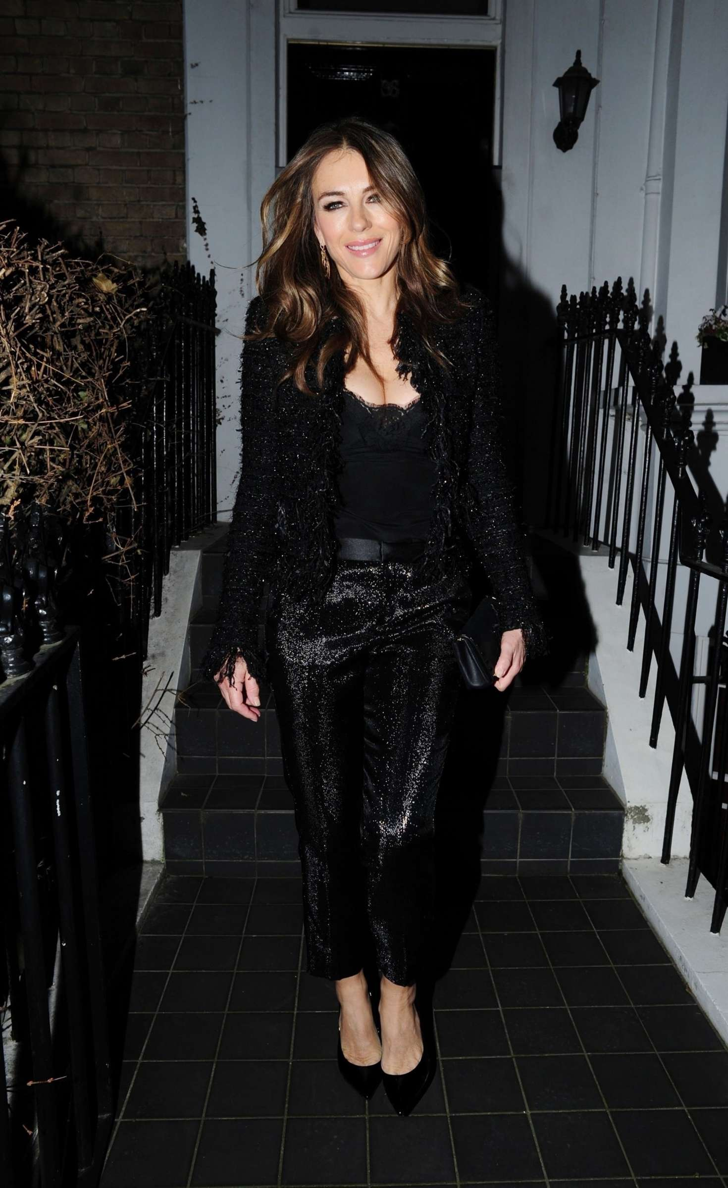 Elizabeth Hurley - Outside her home in London