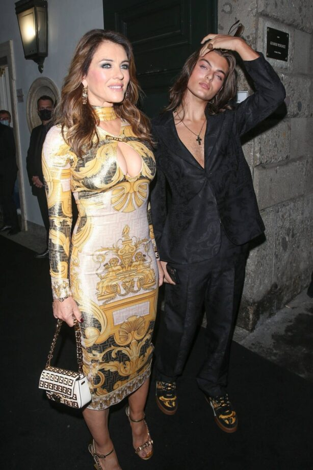 Elizabeth Hurley - Pictured while Attends Versace Fendi private party in Milan