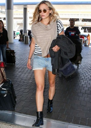 Elizabeth Olsen in Jeans Shorts at LAX Airport in LA