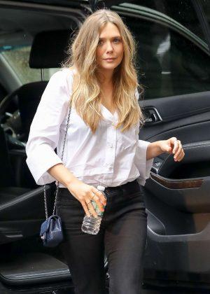Elizabeth Olsen arrives at AOL Build in New York City