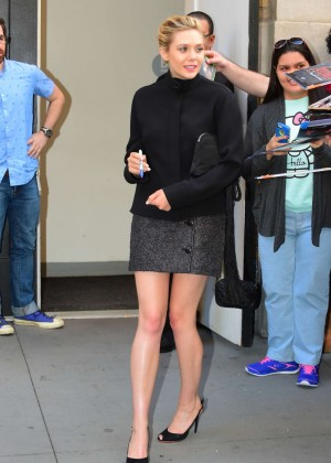 Elizabeth Olsen in Mini Dress Arrives at The Apple Store in Soho