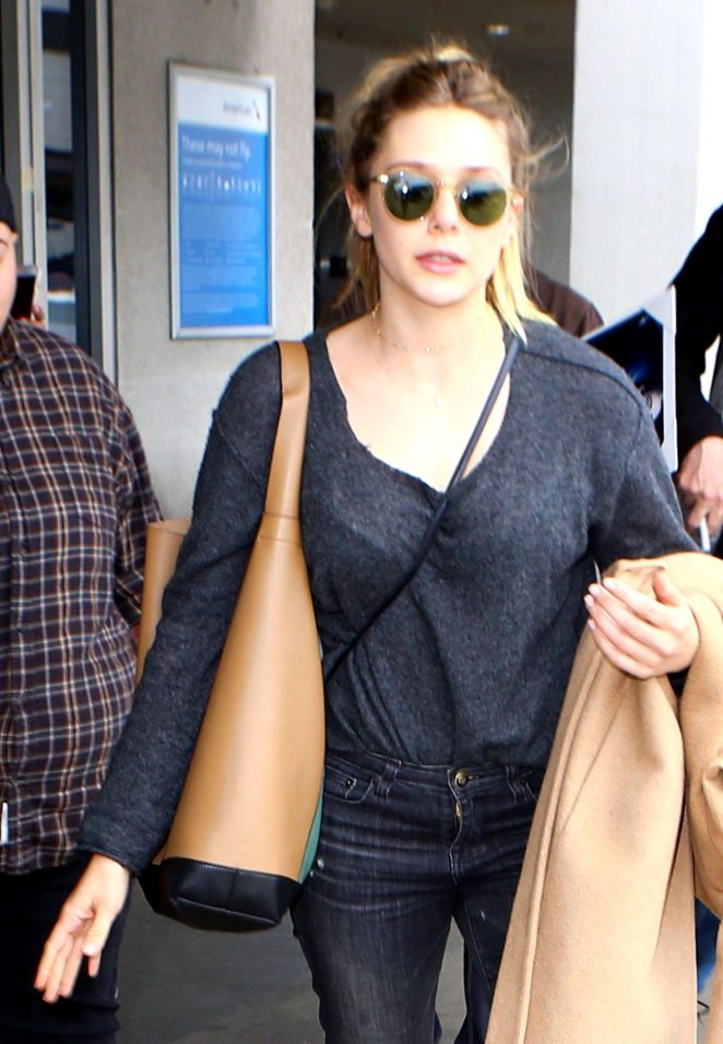 Elizabeth Olsen at LAX Airport in Los Angeles
