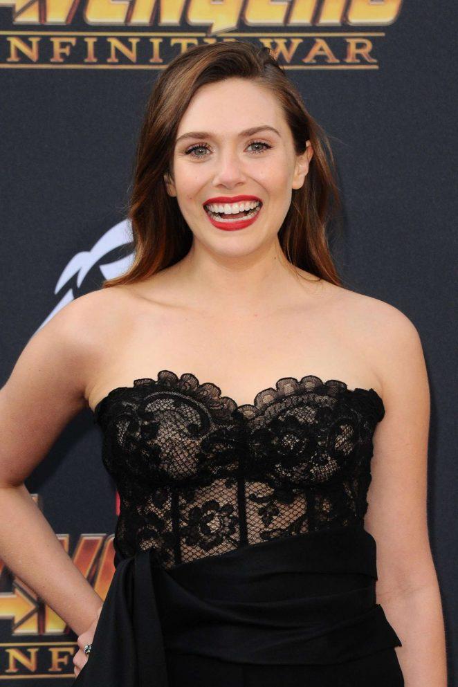 Elizabeth olsen 39 avengers infinity war 39 premiere in los - Scarlet witch boobs ...