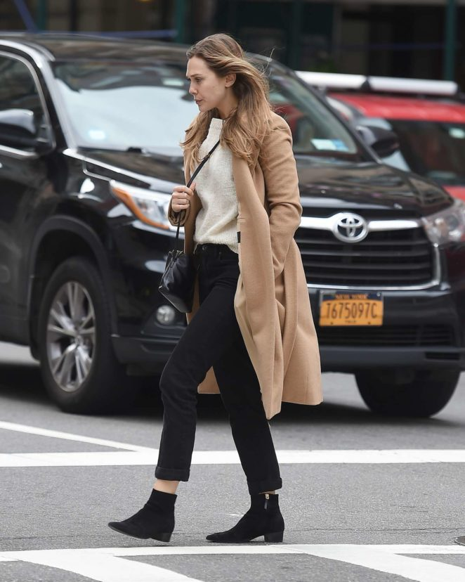 Elizabeth Olsen in a beige coat out in New York City