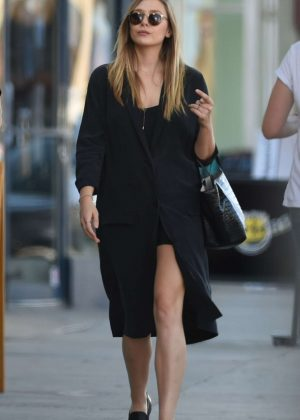 Elizabeth Olsen in Black Coat out in NY