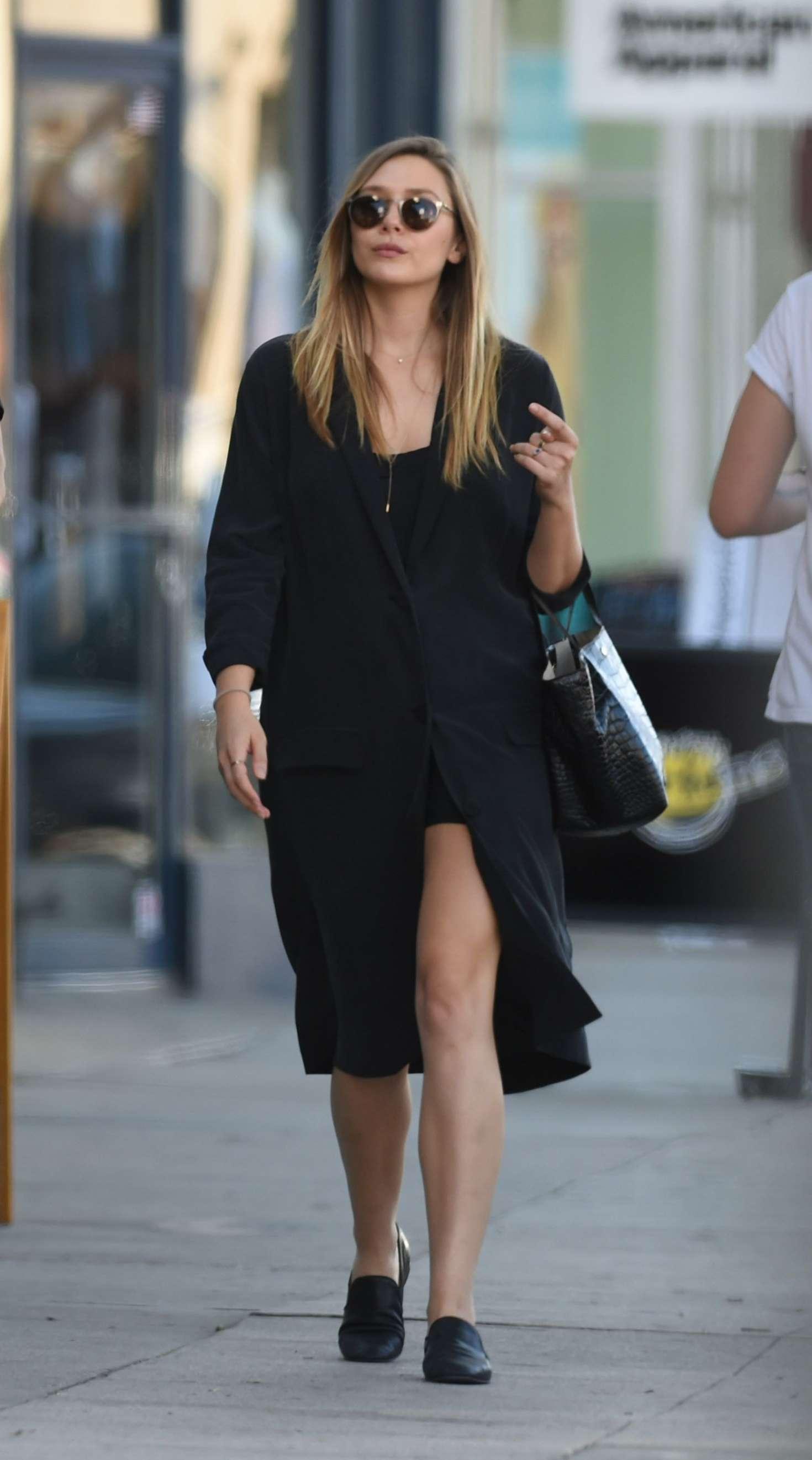 Elizabeth Olsen in Black Coat out in NY