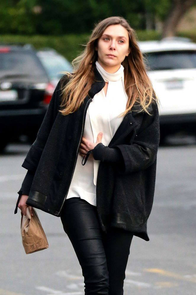 Elizabeth Olsen in black leather pants out in LA