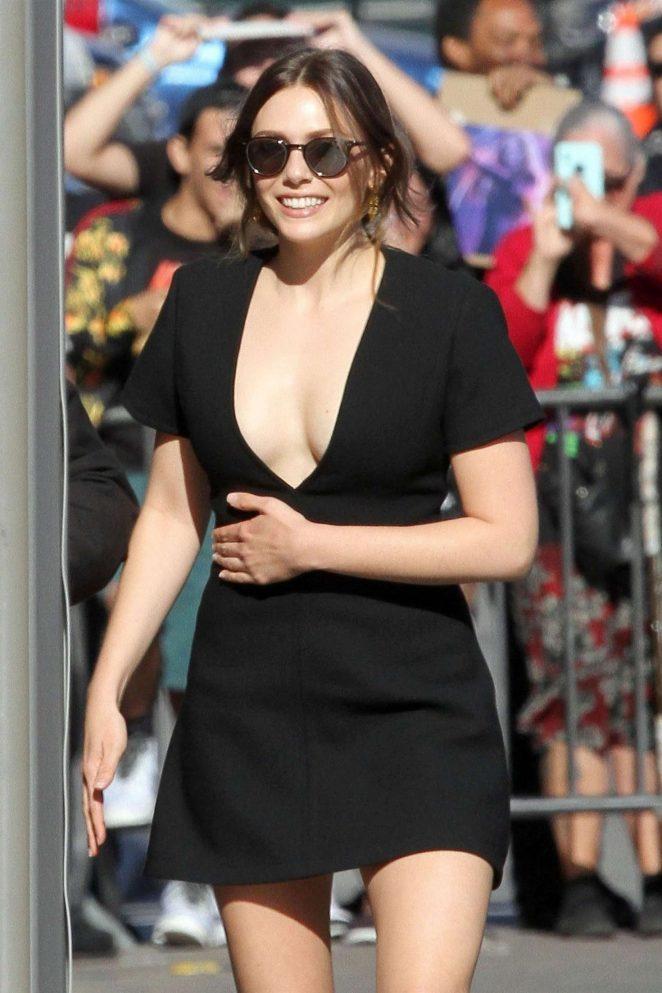 Elizabeth Olsen in Black Mini Dress - Arriving at Jimmy Kimmel Live! in LA