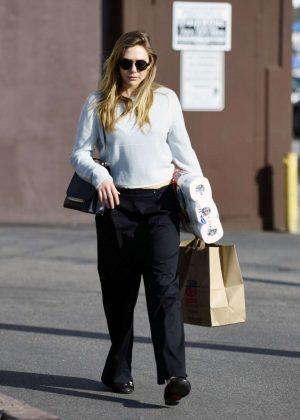 Elizabeth Olsen in Black Pants Shopping in Los Angeles