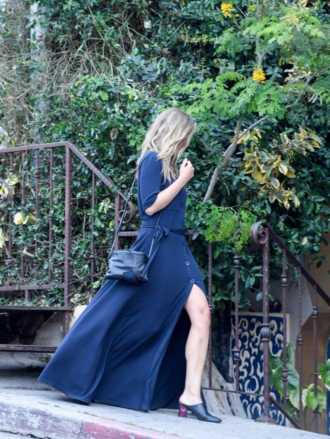 Elizabeth Olsen in Blue Dress at Pace in West Hollywood