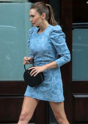 Elizabeth Olsen in Blue Dress - Out in New York
