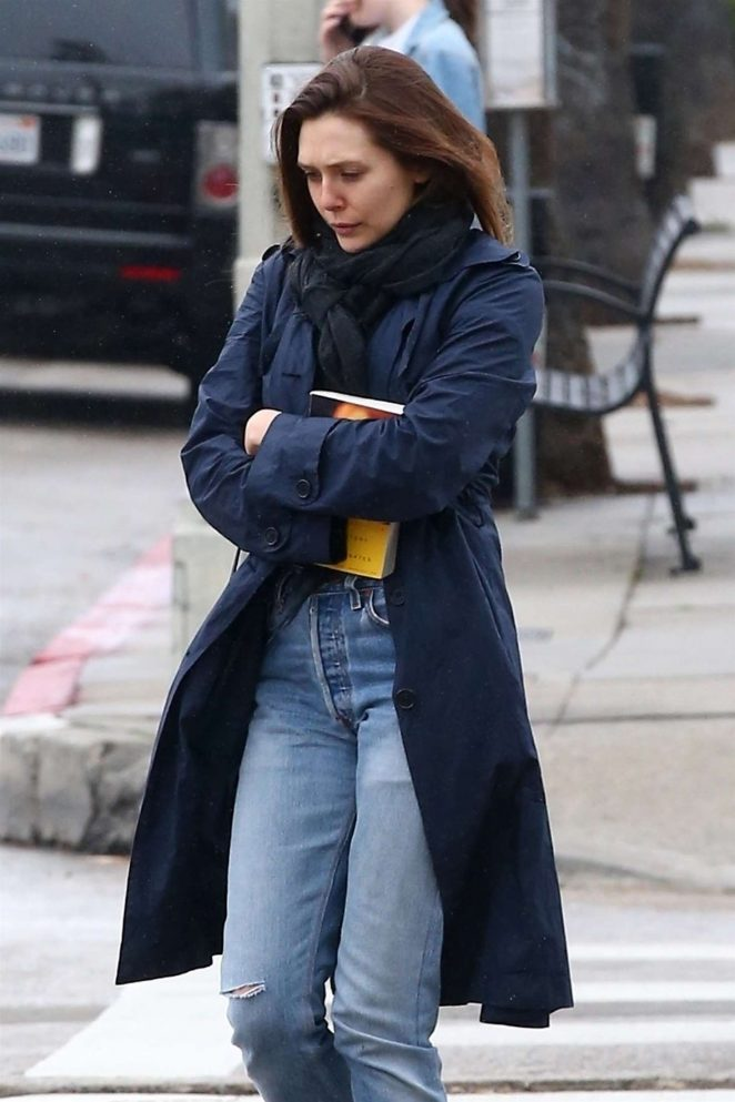 Elizabeth Olsen in Jeans and Long Coat out in LA