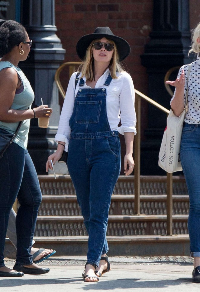 Elizabeth Olsen in Jeans Jumpsuit Jeans Out in NY