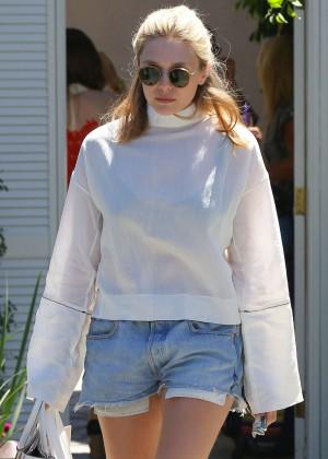 Elizabeth Olsen in Jeans Shorts -04