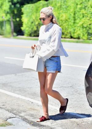 Elizabeth Olsen in Jeans Shorts -06