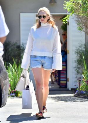 Elizabeth Olsen in Jeans Shorts -08