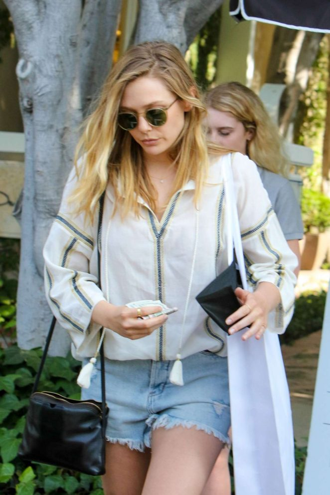 Elizabeth Olsen in Jeans Shorts Shopping in West Hollywood