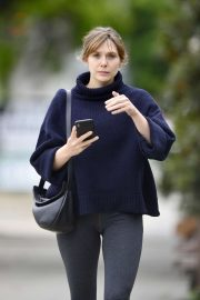 Elizabeth Olsen in Leggings after a workout in Los Angeles