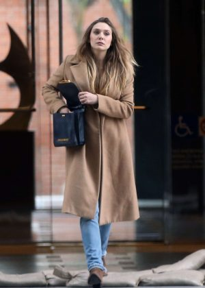 Elizabeth Olsen in Long Coat out in Los Angeles