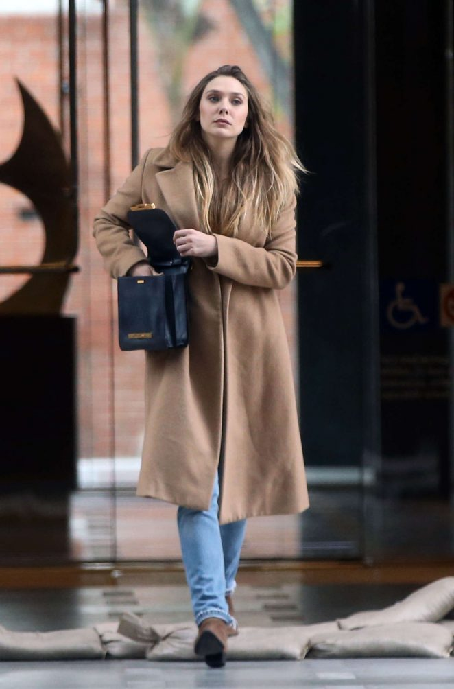 Elizabeth Olsen in Long Coat out in Los Angeles