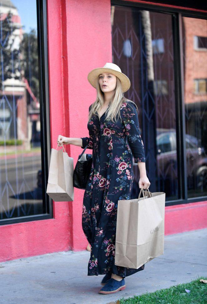 Elizabeth Olsen in Long Dress Shopping in Los Angeles