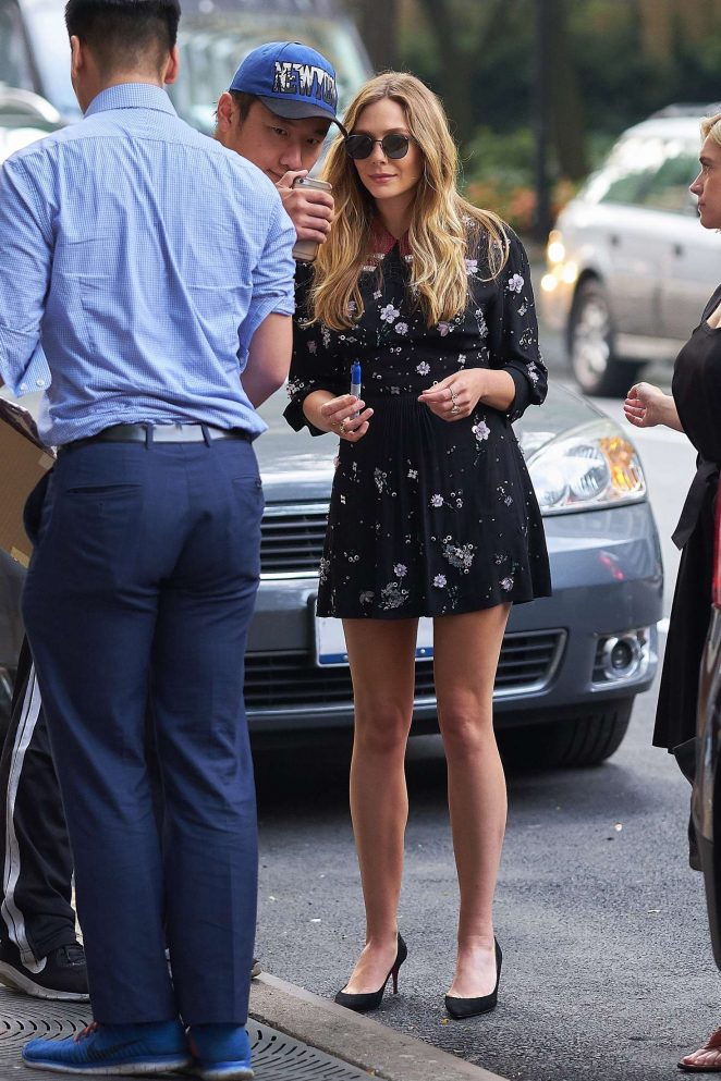 Elizabeth Olsen in Mini Dress at a Juice Press -02
