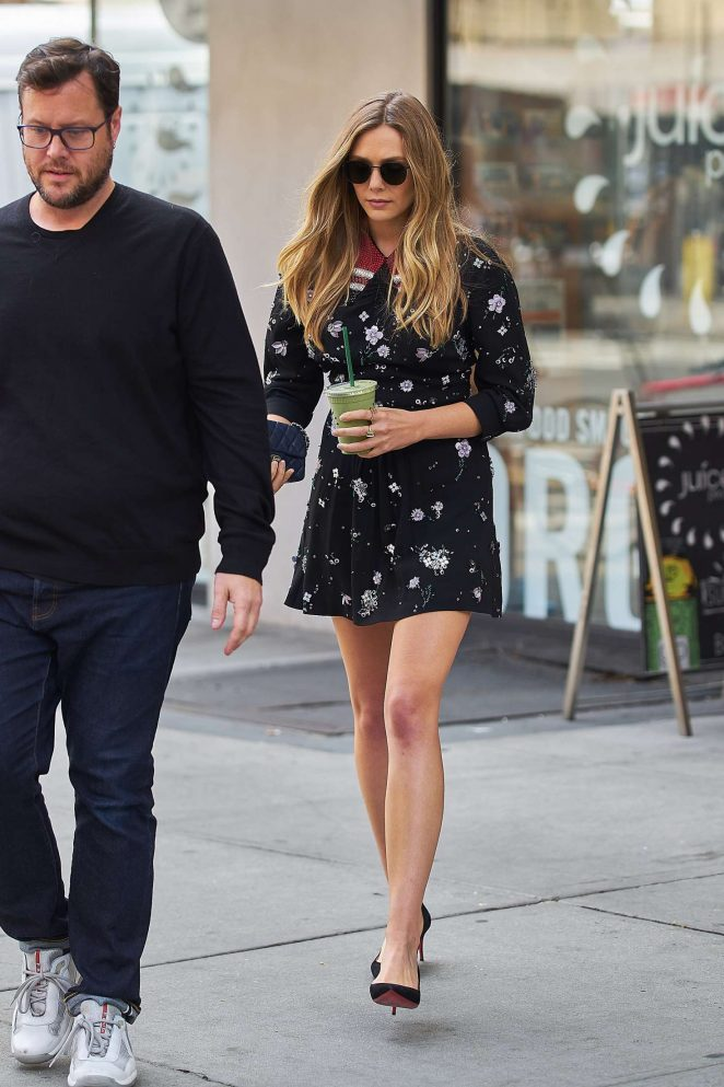 Elizabeth Olsen in Mini Dress at a Juice Press -04