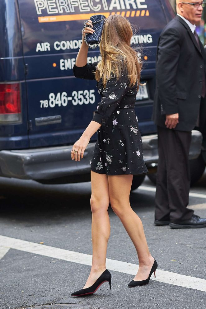 Elizabeth Olsen in Mini Dress at a Juice Press -21
