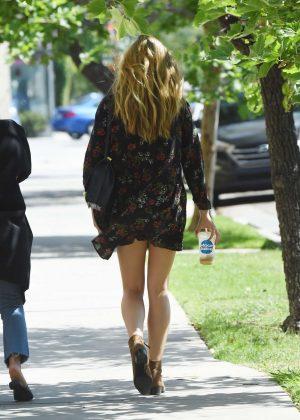 Elizabeth Olsen in Mini Dress out in West Hollywood