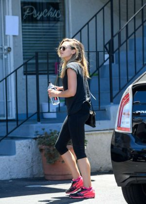 Elizabeth Olsen in Tights out in LA