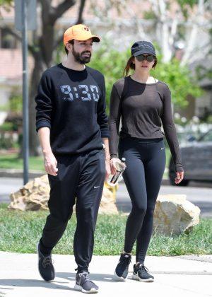 Elizabeth Olsen in Tights with boyfriend Robbie Arnett in Los Angeles