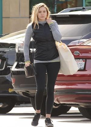 Elizabeth Olsen in Tights Leaving Gelson's Market in LA
