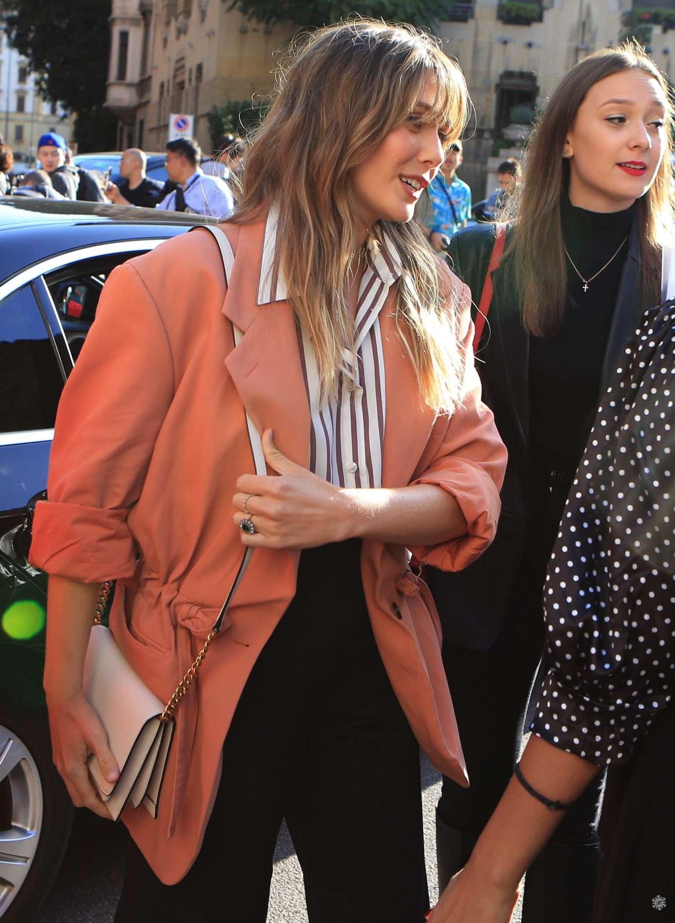 Elizabeth Olsen - Leaving the Womenswear Show in Milan