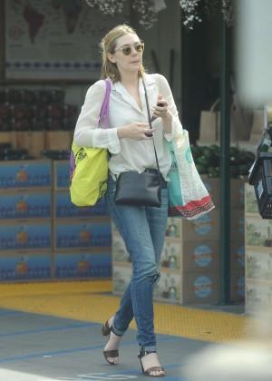Elizabeth Olsen in Jeans Leaving Whole Foods in LA