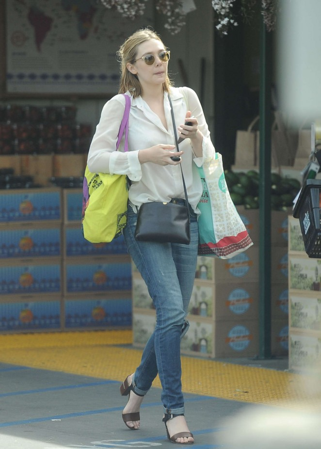 Elizabeth Olsen in Jeans Leaving Whole Foods in LA