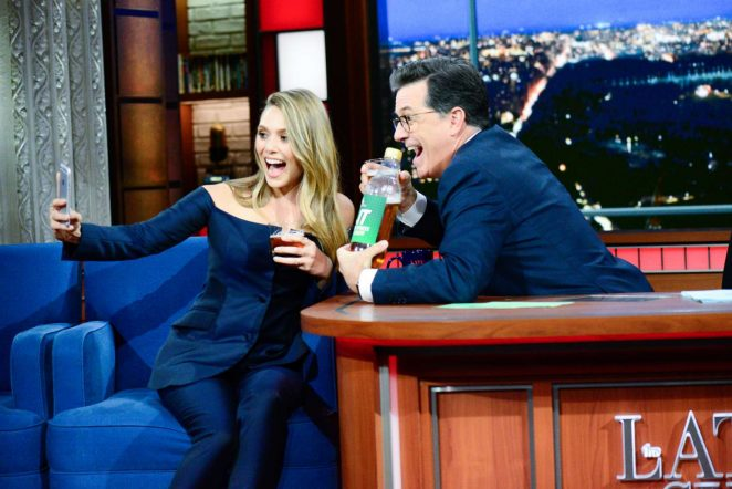 Elizabeth Olsen on 'The Late Show with Stephen Colbert' in New York