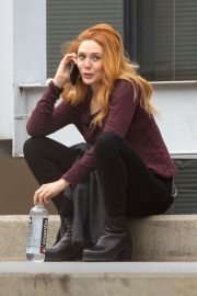 Elizabeth Olsen on the set of Marvel's 'Wandavision' in Atlanta