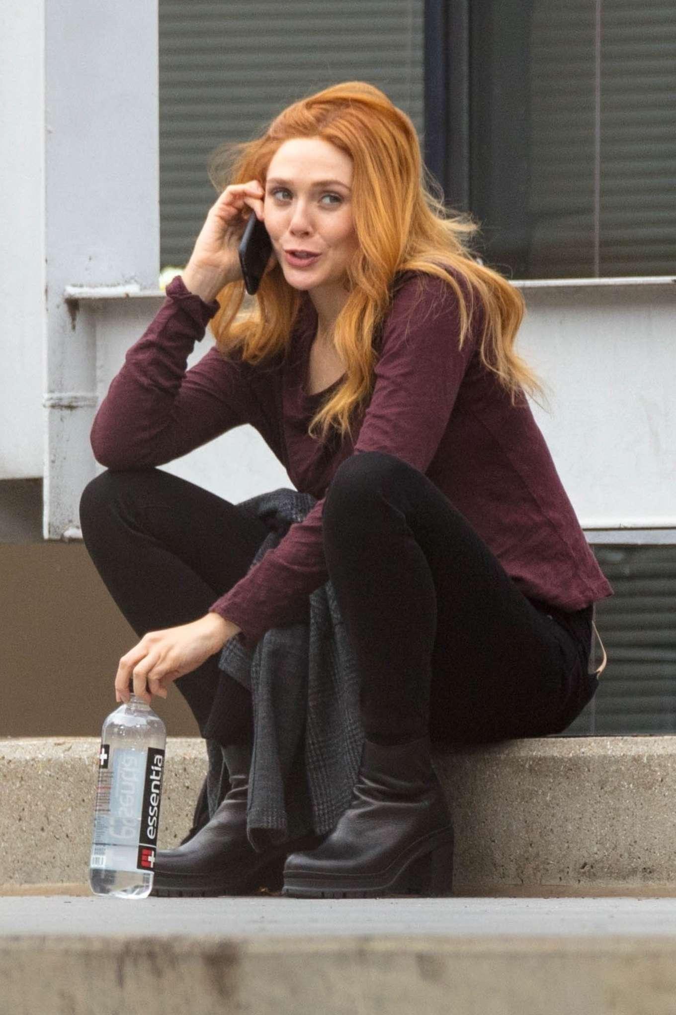 Elizabeth Olsen on the set of Marvel's 'Wandavision' in Atlanta