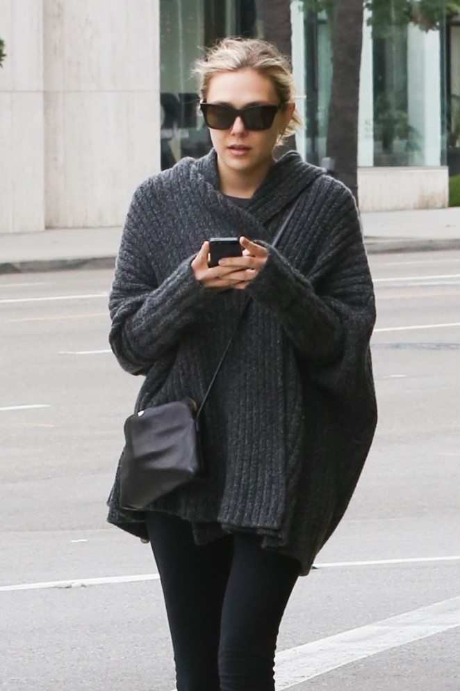 Elizabeth Olsen in Tights Out in Beverly Hills