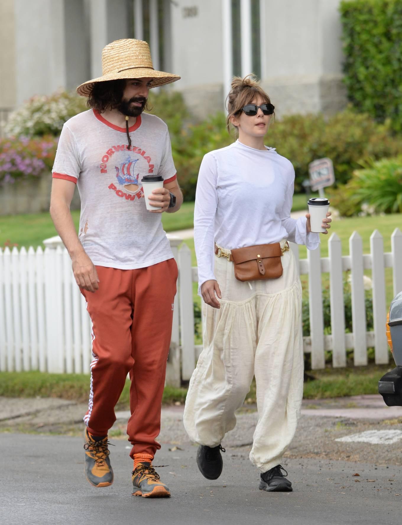 Elizabeth Olsen 2021 : Elizabeth Olsen – Packs on PDA with fiance Robbie Arnett in Studio City-08