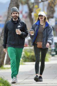 Elizabeth Olsen with Robbie Arnett out in Los Angeles