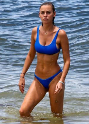 Elizabeth Turner in Blue Bikini at the beach in Miami