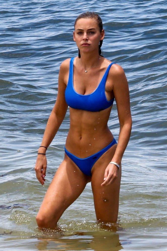 Elizabeth Turner in Blue Bikini at the beach in Miami