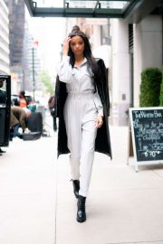Ella Balinska in White Suit - Out in New York