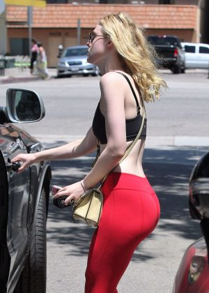 Ella Fanning in Red Tights and Sports Bra in Los Angeles