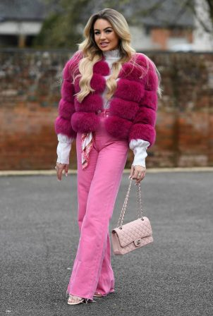 Ella Rae Wise - In pink at The Only Way is Essex TV Show filming in Essex