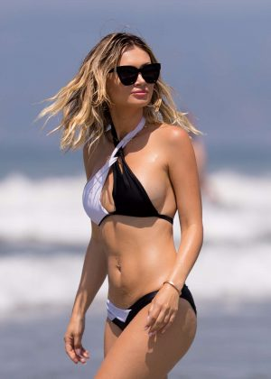 Ella Rose in Black and White Bikini at Santa Monica Beach