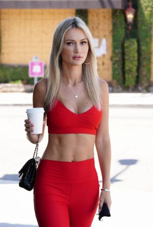 Ella Rose - Wearing red workout gear while grabbing coffee at Alfreds Coffee in West Hollywood