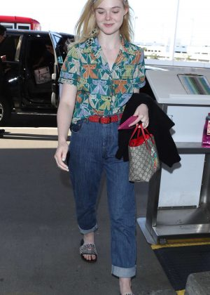Elle Fanning - Arrives at LAX Airport in LA