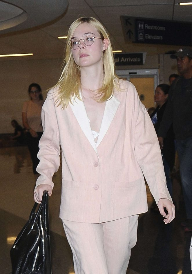 Elle Fanning Arrives at LAX Airport in Los Angeles